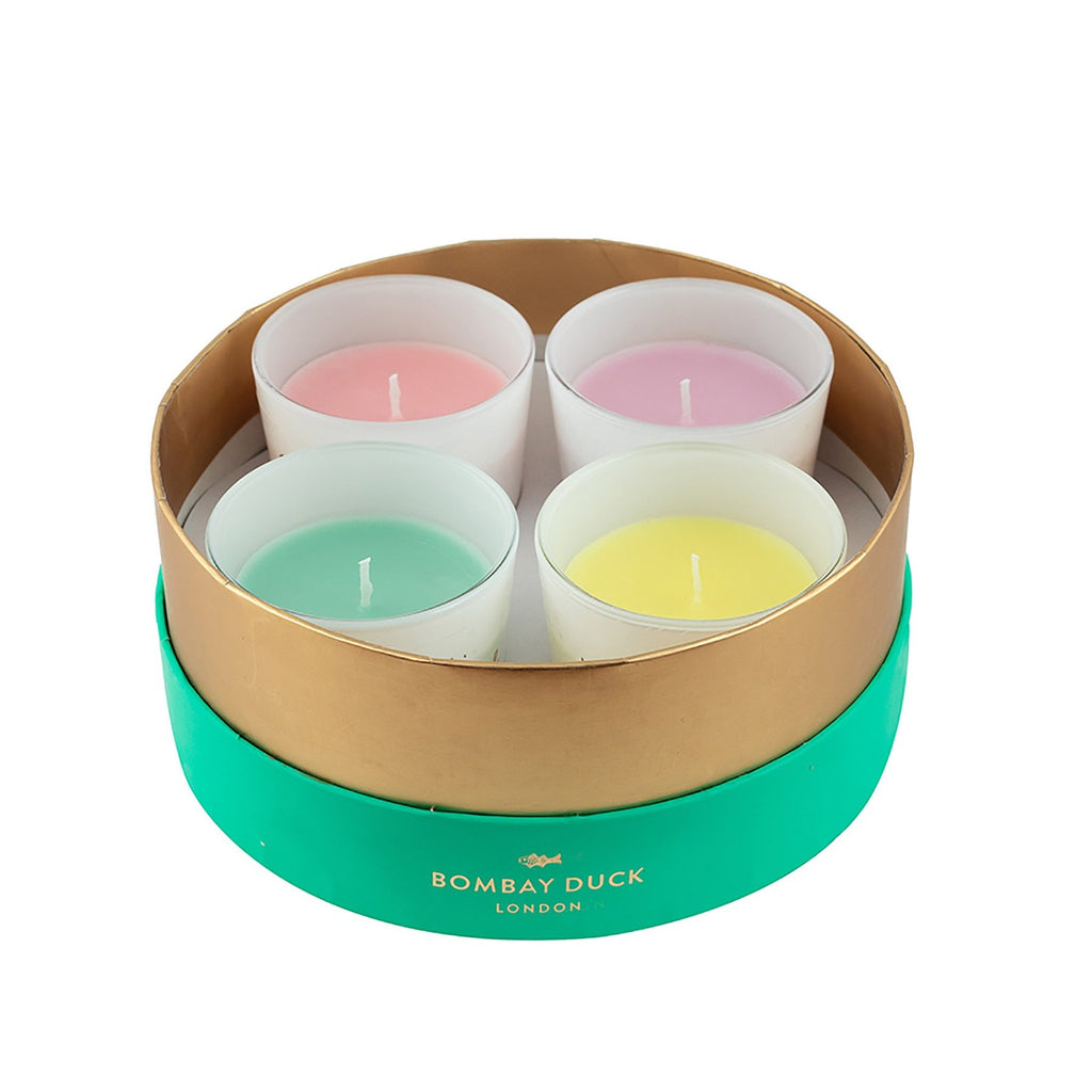 Set of luxury scented candles in a gift box
