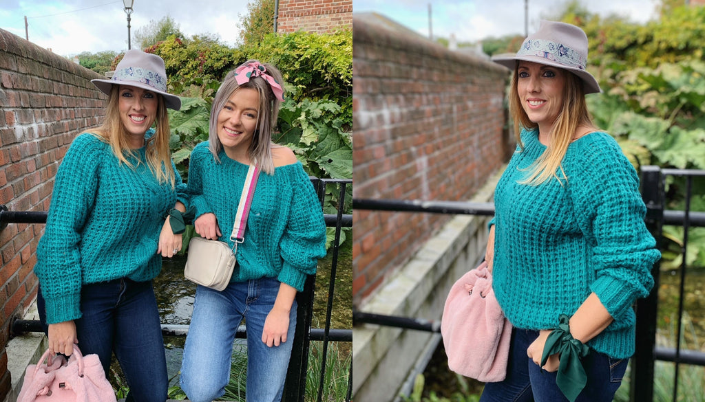 Tiggy and Shelbie style the green chunky knit jumper