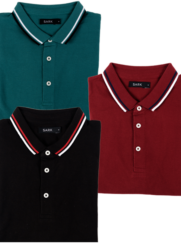 Combo of 3 Polo T-Shirts (Maroon, Green, Black)