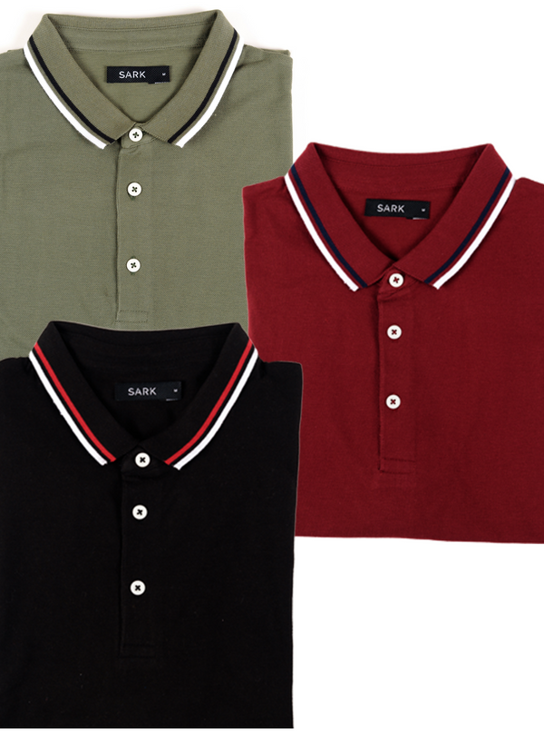 3 Pack of Polo T-Shirts - The Sark Company (Olive, Black, Maroon)