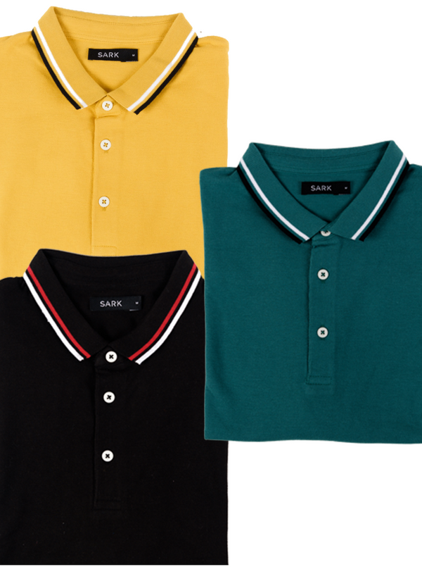 Crazy Pack 3 Polo T-Shirts (Green, Black, Mustard)