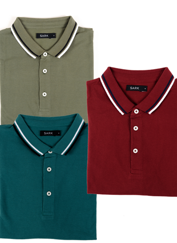 Pack of 3 Polo T-Shirts (Green, Olive, Maroon)