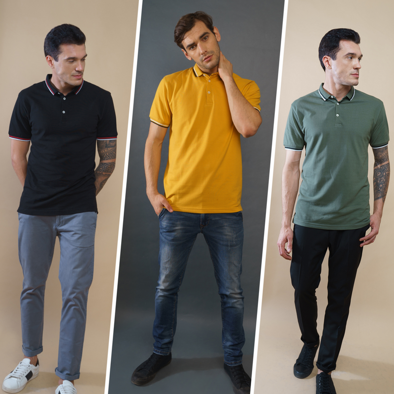 Pack of 3 Polo T-Shirts (Olive, Black, Mustard)