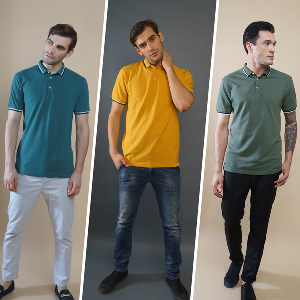 Crazy Pack of 3 Polo T-Shirts (Green, Olive, Mustard)