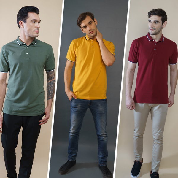 Crazy Combo of 3 Polo T-Shirts (Maroon, Mustard, Olive)