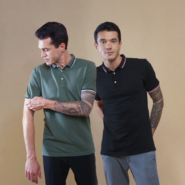 Pack of 2 Polo T-shirts (Black and Olive)