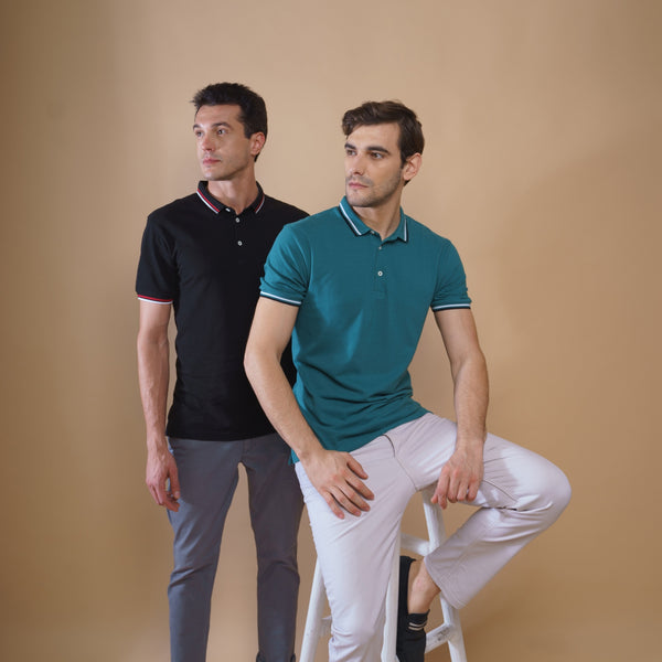 Pack of 2 Polo T-shirts (Black and Green)