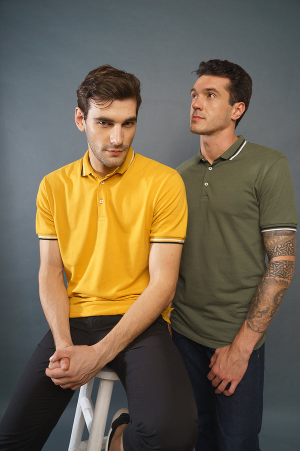 Pack of 2 Polo T-shirts (Mustard and Olive)