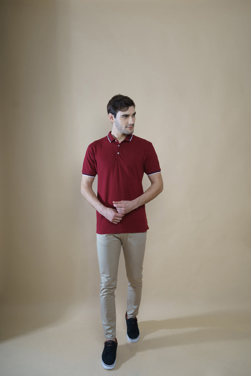 Men Cotton Pack 3 Polo T-Shirts (Maroon, Green, Mustard)
