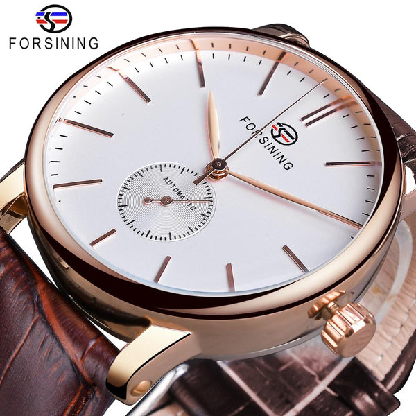 Forsining Mens Fashion Mechanical Watch Rose Gold
