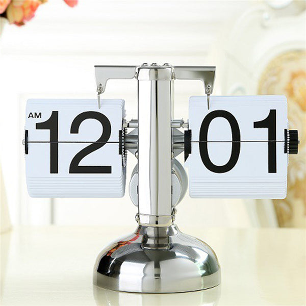Creative Auto Flip Digital Projection Alarm Clock Despertador Vintage Modern Scale Metal Desk Clock Quartz Office Home Decor
