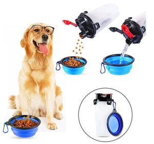 2-In-1 Pet Water & Food Bottle with 2 Foldable Bowls - 50% TODAY!