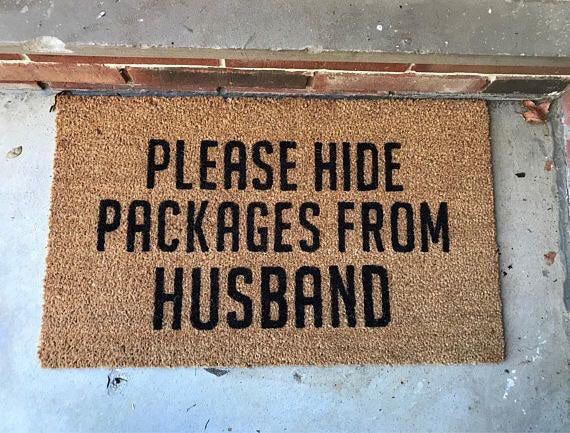 Please hide packages from husband- doormat