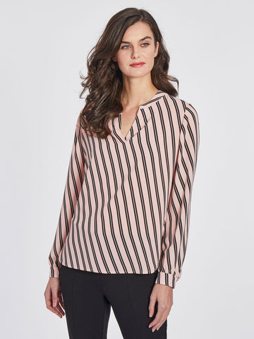 Split Neck High-Low Blouse