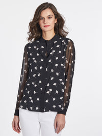 The Jones New York Printed Collarless Blouse in color Jones Black Combo - Image Position 1