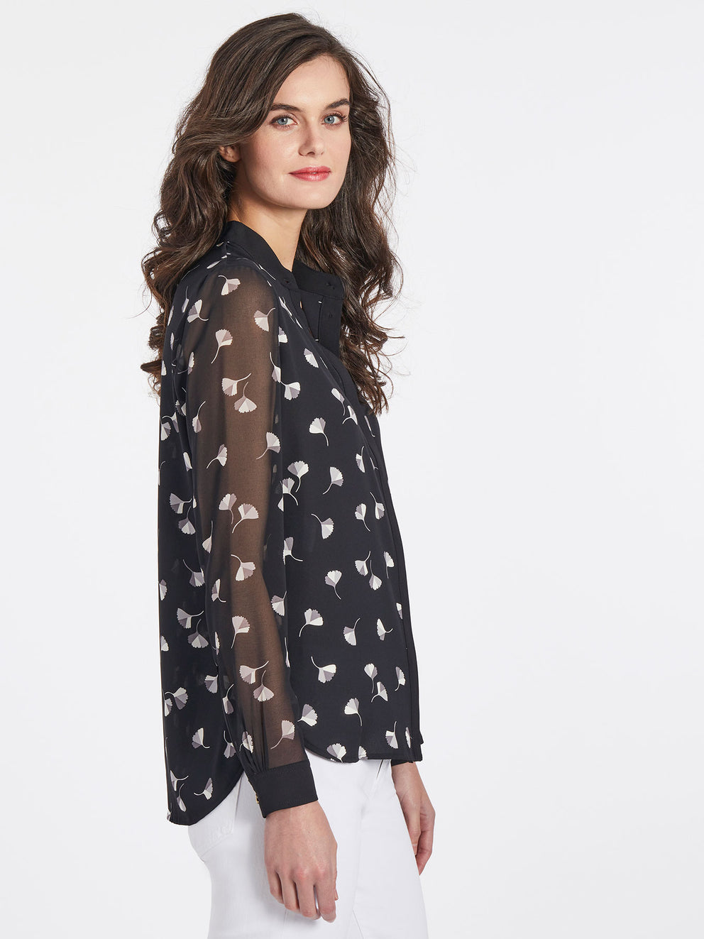 The Jones New York Printed Collarless Blouse in color Jones Black Combo - Image Position 2