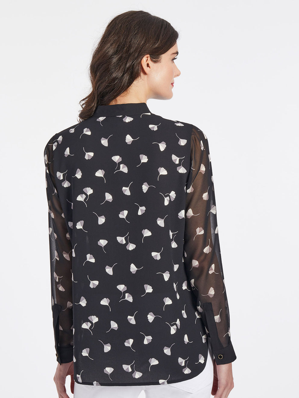 The Jones New York Printed Collarless Blouse in color Jones Black Combo - Image Position 3