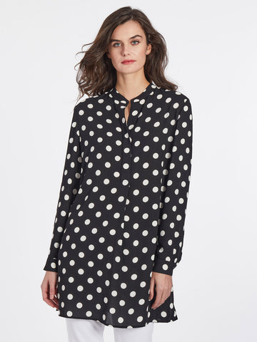 Polka Dot Button-Front Swing Tunic