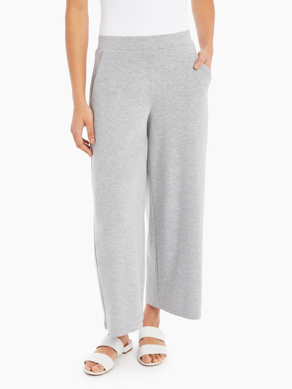 Cropped Wide Leg Pull-On Pants