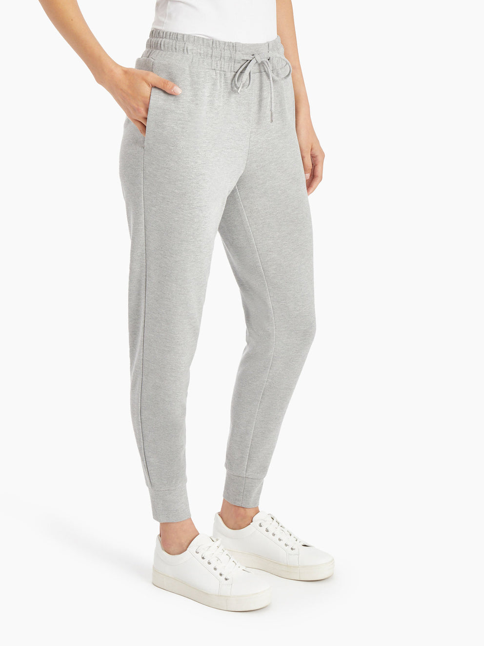 Pull-On Drawstring Jogger Pants – Grey Heather – Jones New York