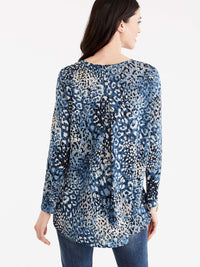 Animal Print High-Low Tunic Color Storm Combo