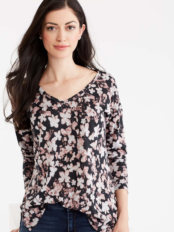 Floral Print V-Neck Top Color Macaron Combo