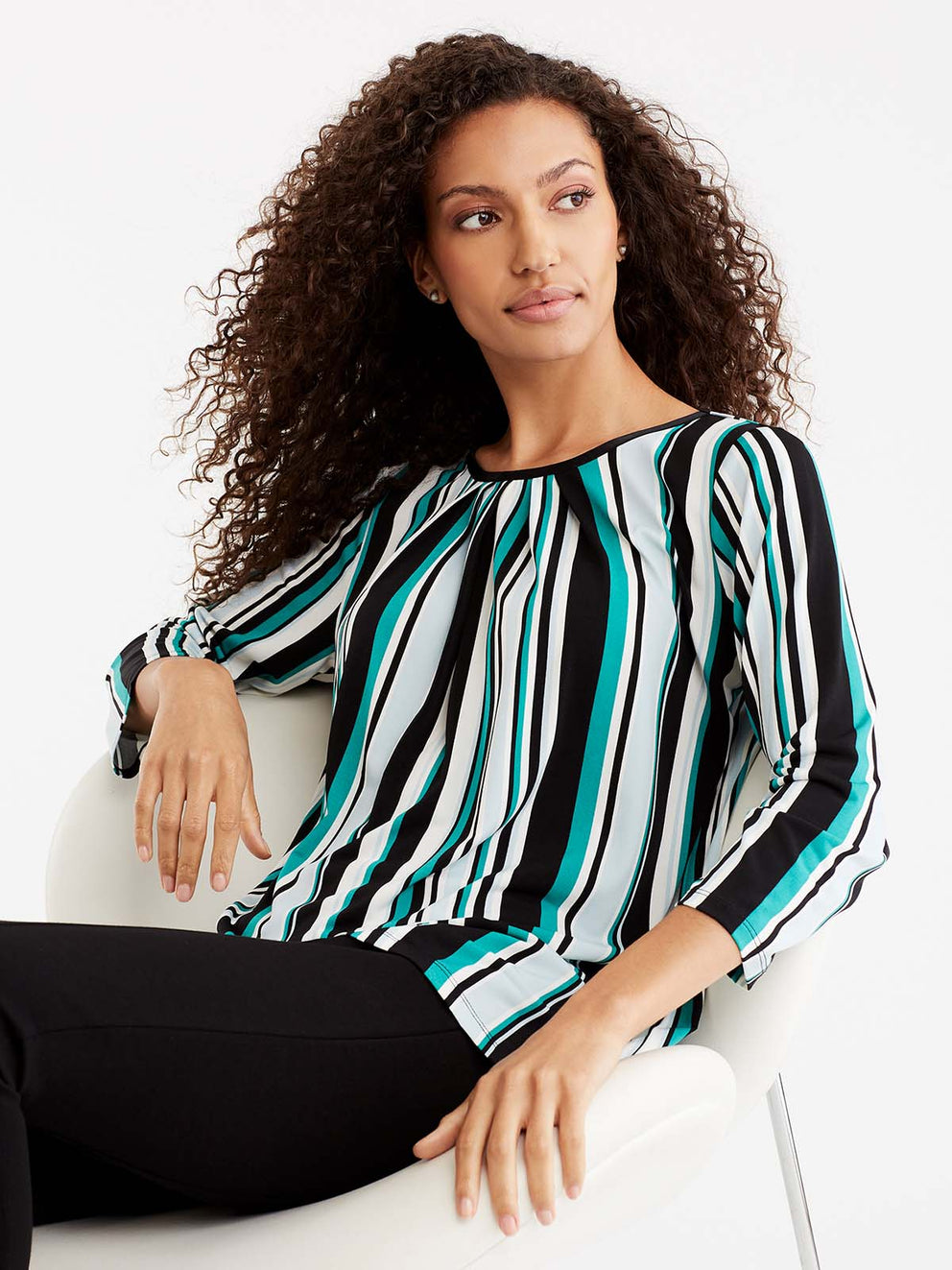 Striped 3/4-Sleeve Tunic Color Jasper Combo