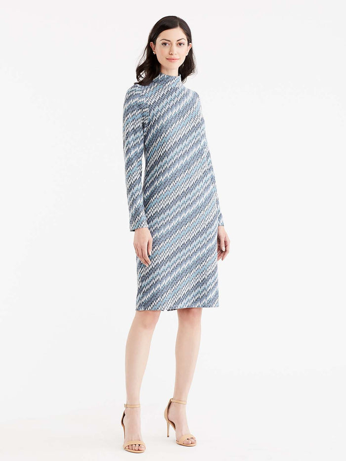Chevron Mock Neck Dress