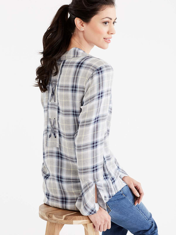 Plaid Lace-Back Shirt Color Storm