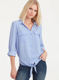 The Jones New York Tie Front Shirt in color Blue Ivory Dot - Image Position 1