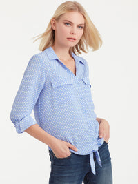 The Jones New York Tie Front Shirt in color Blue Ivory Dot - Image Position 2