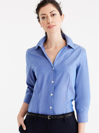 Non-Iron 3/4-Sleeve Shirt Color French Blue