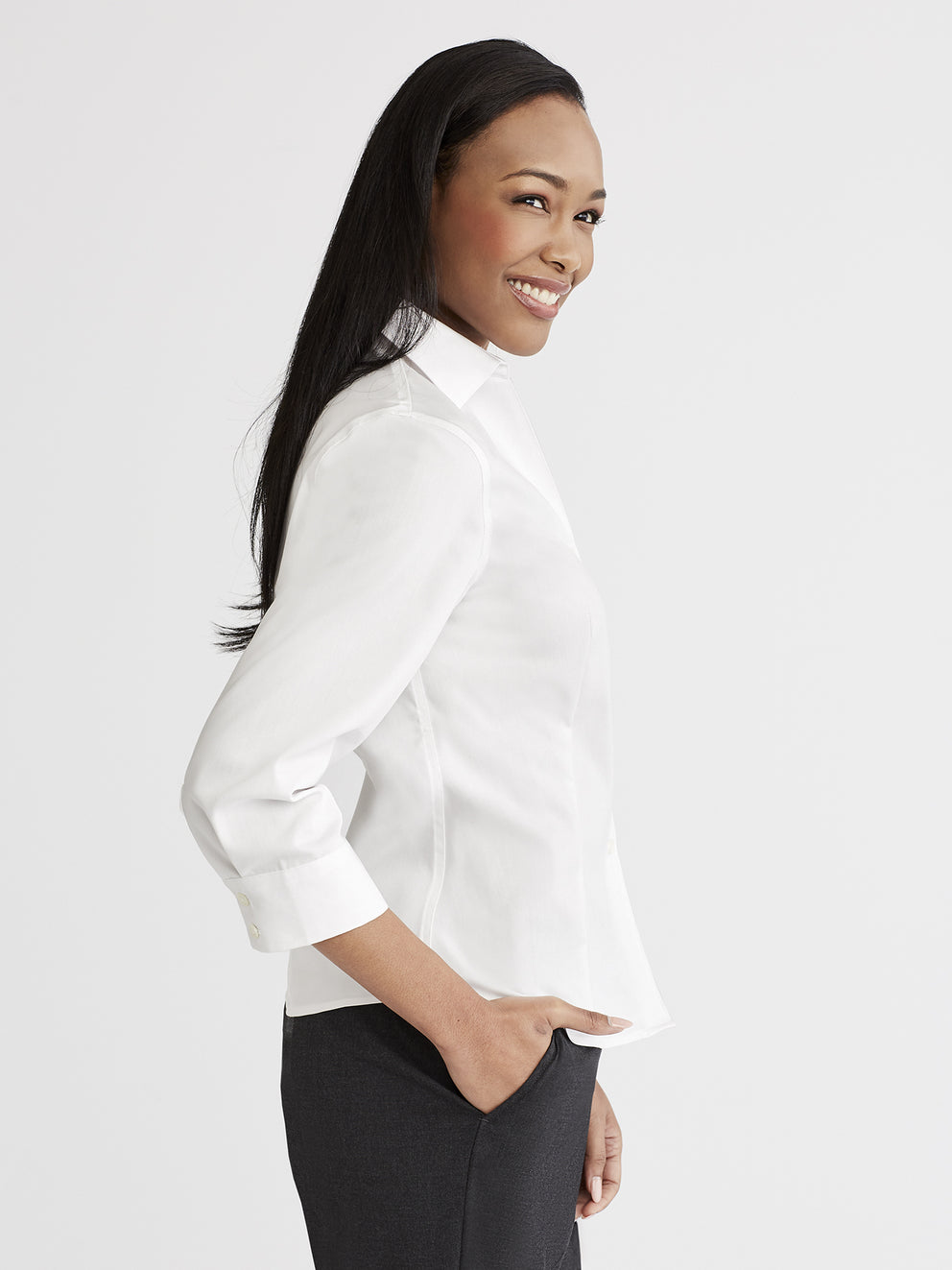 Non-Iron 3/4-Sleeve Shirt Color White