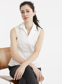 Non-Iron Sleeveless Shirt Color White