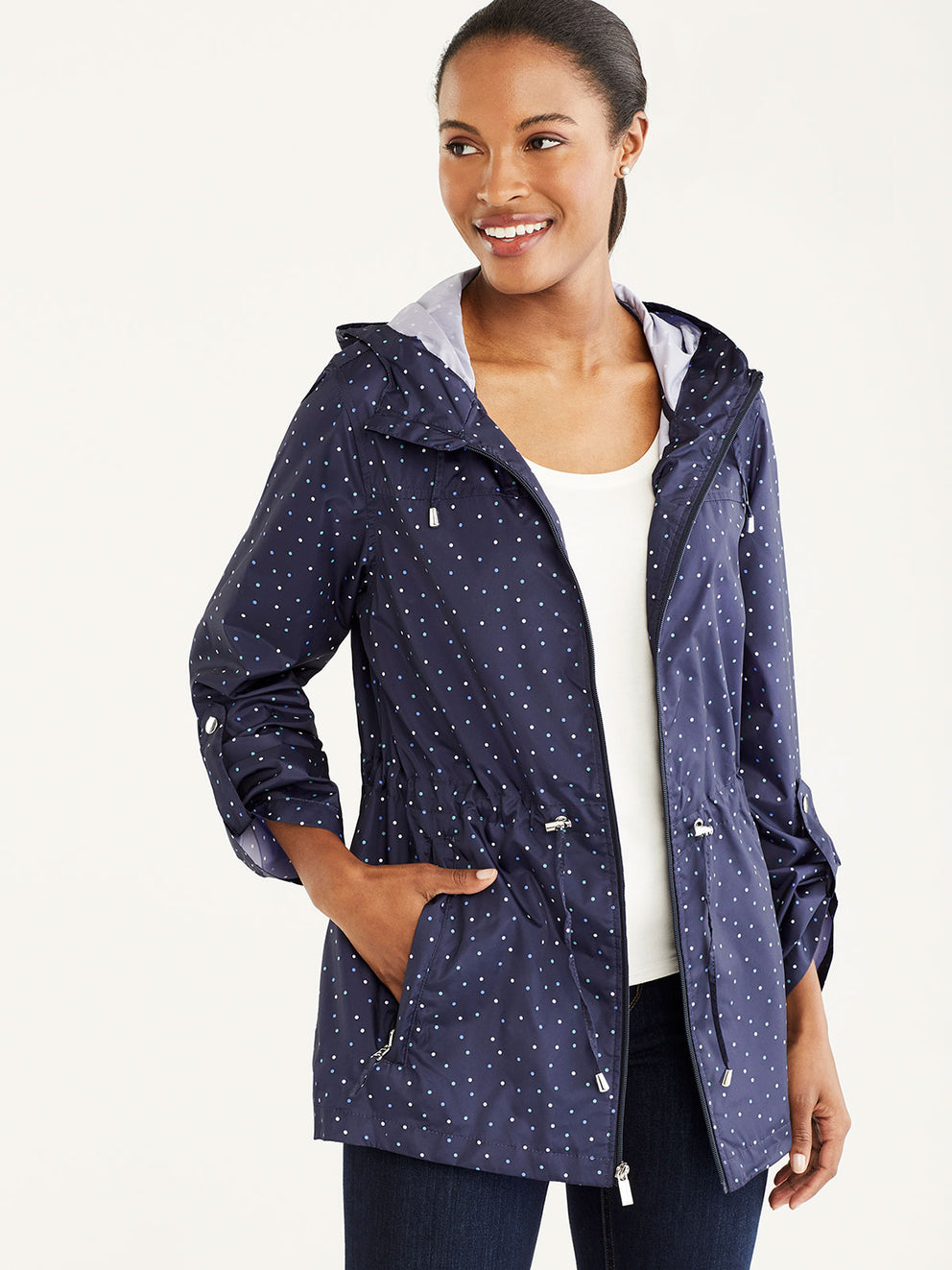 The Jones New York Packable Rain Jacket in color Navy Dots - Image Position 1