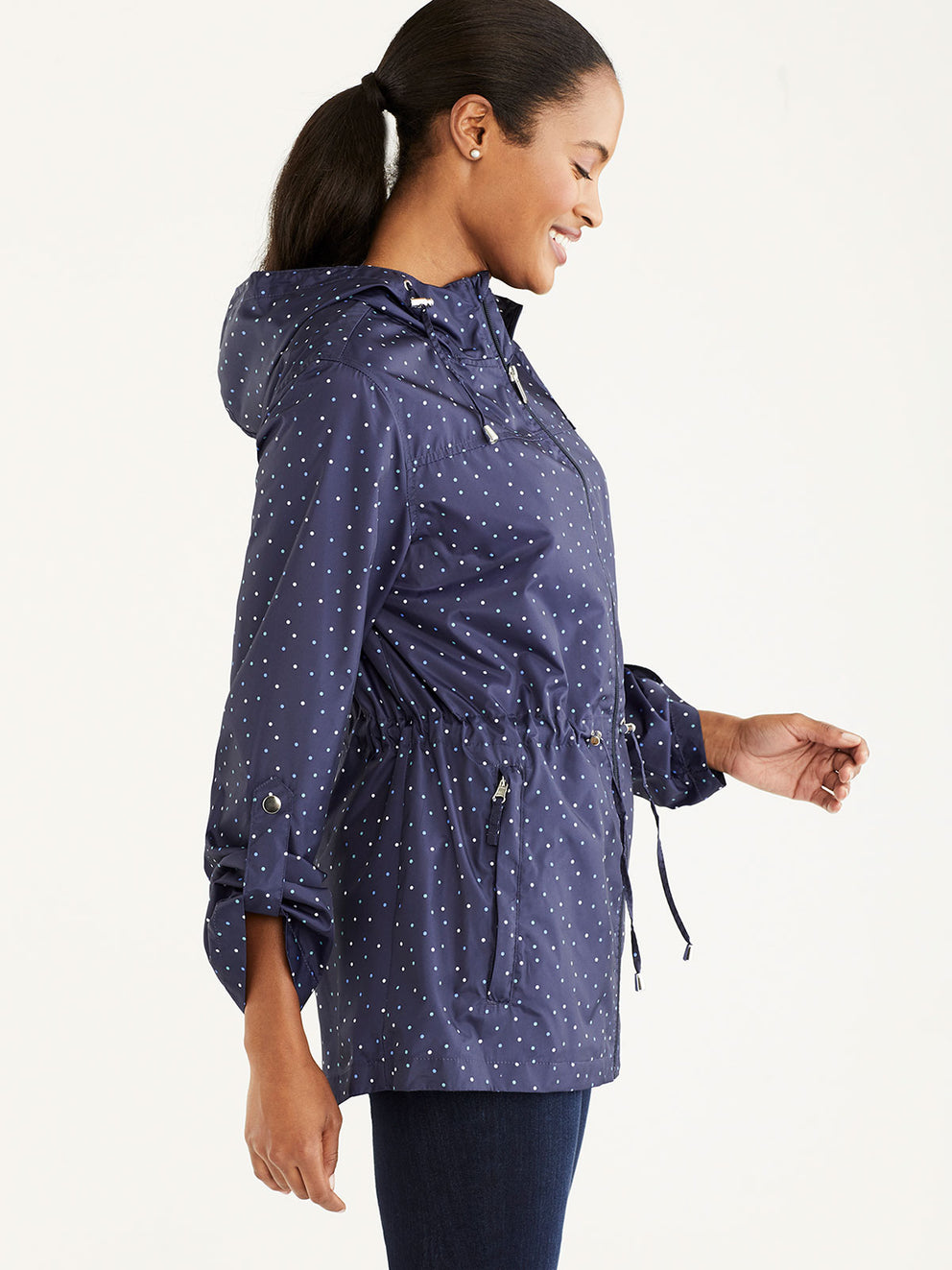 The Jones New York Packable Rain Jacket in color Navy Dots - Image Position 2