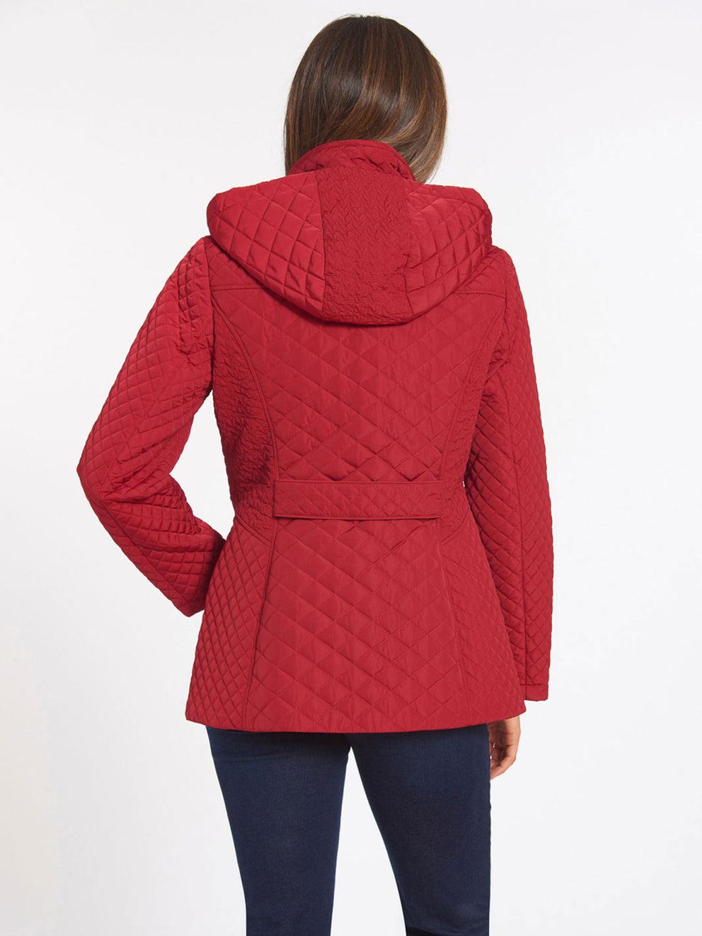 The Jones New York Quilted Zip Front Coat in color Carmine Red - Image Position 4
