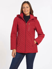 The Jones New York Quilted Zip Front Coat in color Carmine Red - Image Position 1