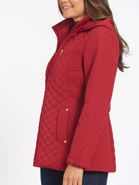 The Jones New York Quilted Zip Front Coat in color Carmine Red - Image Position 2