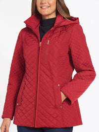 The Jones New York Quilted Zip Front Coat in color Carmine Red - Image Position 3