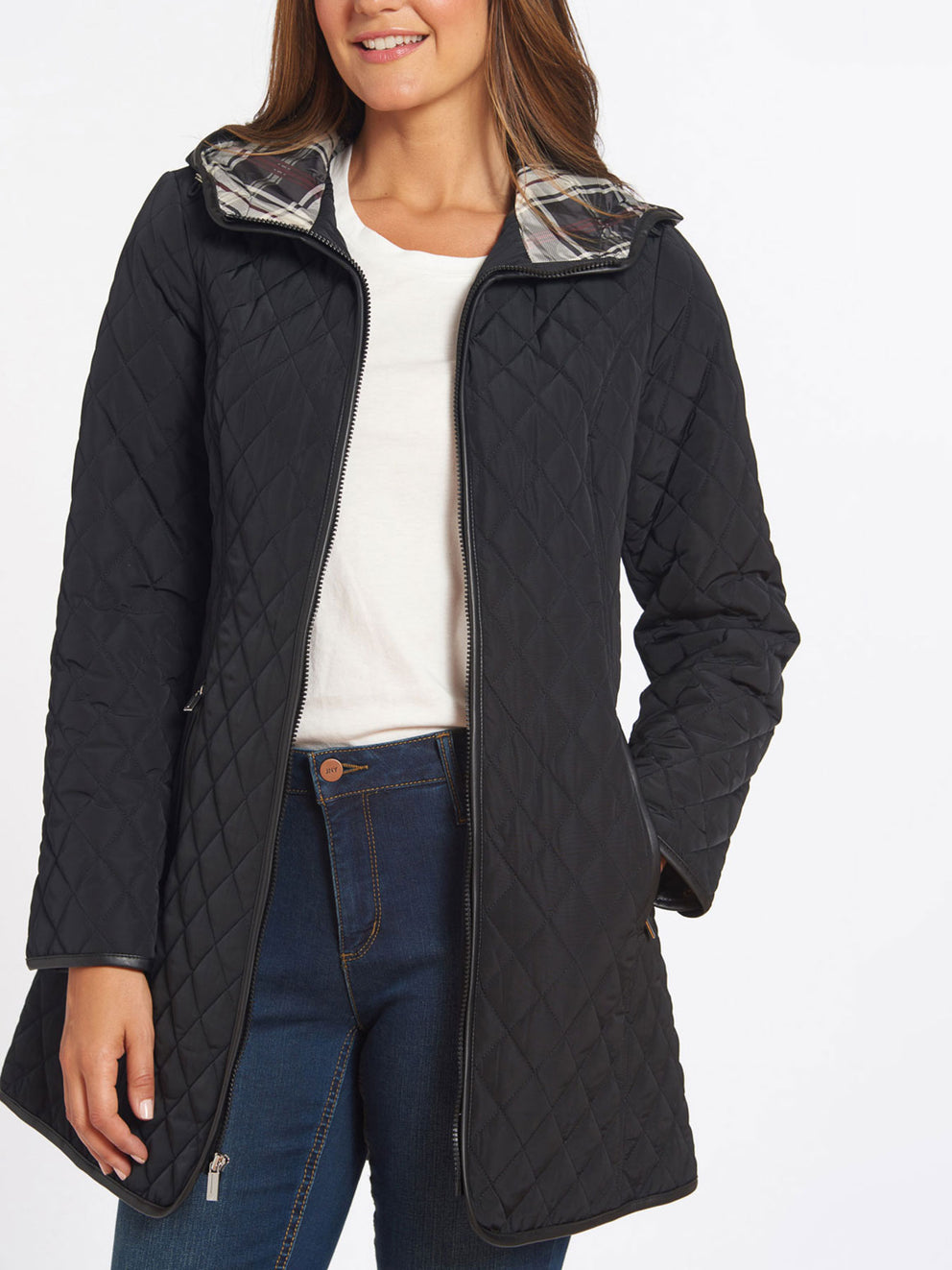 The Jones New York Quilted Princess Line Zip Coat in color Black - Image Position 2