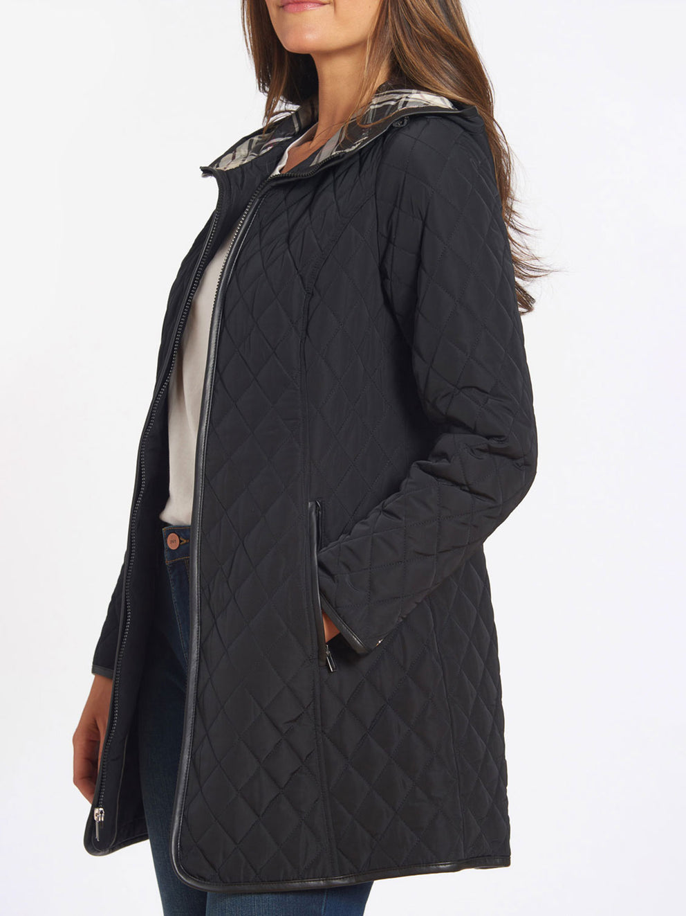 The Jones New York Quilted Princess Line Zip Coat in color Black - Image Position 3
