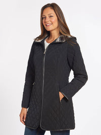 The Jones New York Quilted Princess Line Zip Coat in color Black - Image Position 1