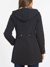 The Jones New York Quilted Princess Line Zip Coat in color Black - Image Position 4