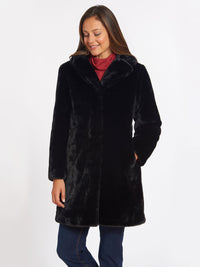 The Jones New York Faux Fur Jacket in color Black - Image Position 1