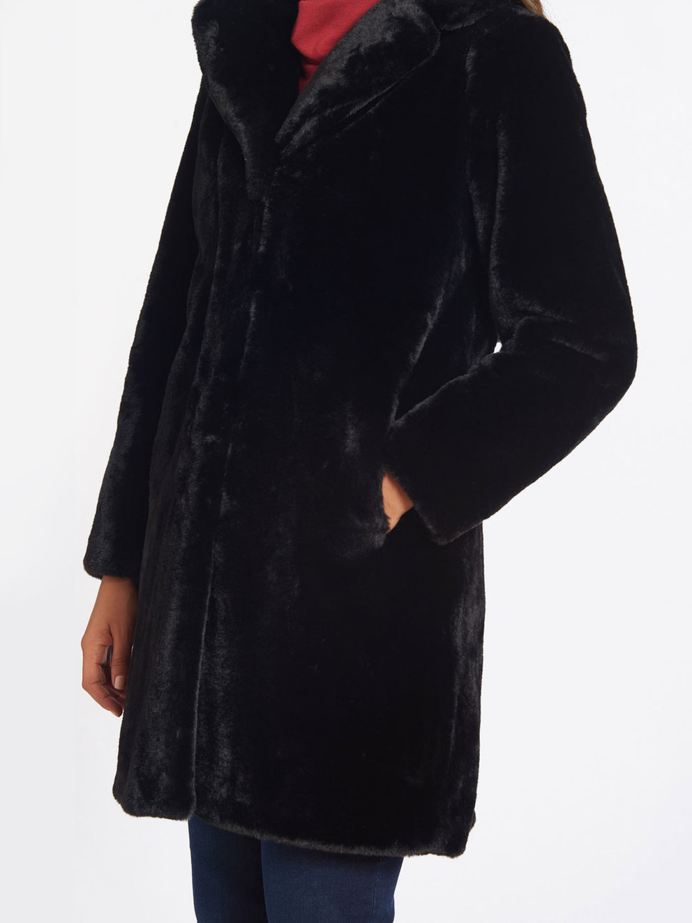 The Jones New York Faux Fur Jacket in color Black - Image Position 3