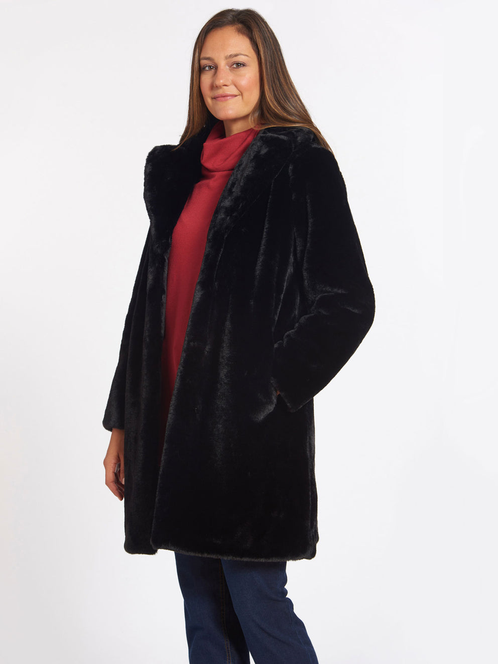 The Jones New York Faux Fur Jacket in color Black - Image Position 2
