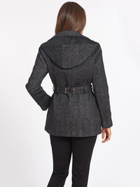 Fleece Pea Coat Color Black Tweed