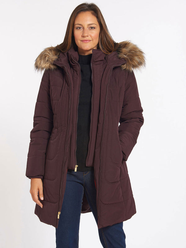 Quilted Faux Fur Trim Coat