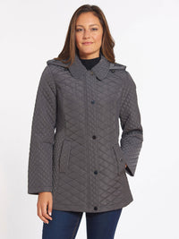 The Jones New York Quilted Snap Front Coat in color Gunmetal - Image Position 1
